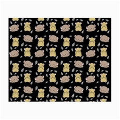 Cute Hamster Pattern Black Background Small Glasses Cloth (2 Side) by BangZart