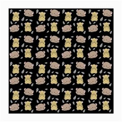 Cute Hamster Pattern Black Background Medium Glasses Cloth (2 Side)