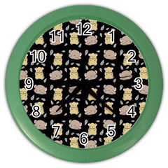 Cute Hamster Pattern Black Background Color Wall Clocks