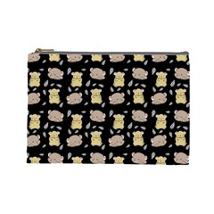 Cute Hamster Pattern Black Background Cosmetic Bag (large)
