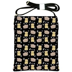 Cute Hamster Pattern Black Background Shoulder Sling Bags by BangZart