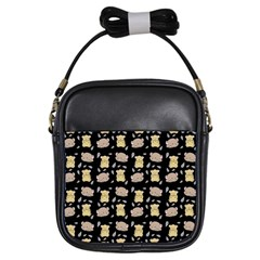 Cute Hamster Pattern Black Background Girls Sling Bags by BangZart