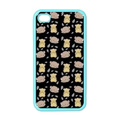 Cute Hamster Pattern Black Background Apple Iphone 4 Case (color) by BangZart