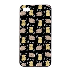 Cute Hamster Pattern Black Background Apple Iphone 4/4s Seamless Case (black)