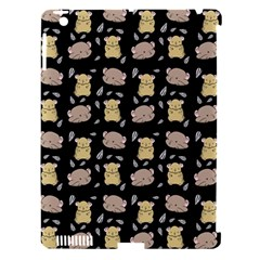 Cute Hamster Pattern Black Background Apple Ipad 3/4 Hardshell Case (compatible With Smart Cover)