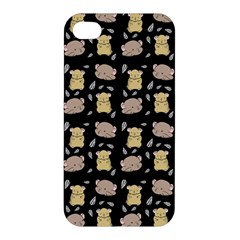 Cute Hamster Pattern Black Background Apple Iphone 4/4s Premium Hardshell Case