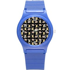 Cute Hamster Pattern Black Background Round Plastic Sport Watch (s) by BangZart