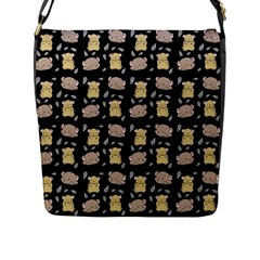 Cute Hamster Pattern Black Background Flap Messenger Bag (l)  by BangZart