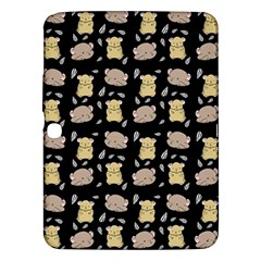 Cute Hamster Pattern Black Background Samsung Galaxy Tab 3 (10 1 ) P5200 Hardshell Case