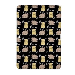 Cute Hamster Pattern Black Background Samsung Galaxy Tab 2 (10 1 ) P5100 Hardshell Case  by BangZart