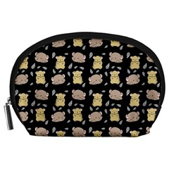 Cute Hamster Pattern Black Background Accessory Pouches (large)  by BangZart