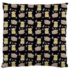Cute Hamster Pattern Black Background Large Flano Cushion Case (two Sides)