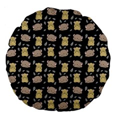 Cute Hamster Pattern Black Background Large 18  Premium Flano Round Cushions by BangZart