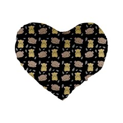 Cute Hamster Pattern Black Background Standard 16  Premium Flano Heart Shape Cushions