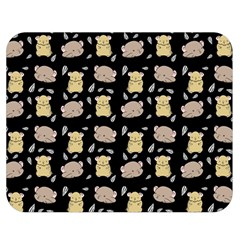 Cute Hamster Pattern Black Background Double Sided Flano Blanket (medium)  by BangZart