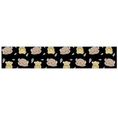Cute Hamster Pattern Black Background Flano Scarf (large)