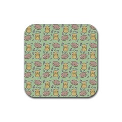 Cute Hamster Pattern Rubber Square Coaster (4 Pack)