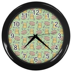 Cute Hamster Pattern Wall Clocks (black)