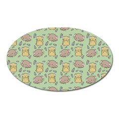 Cute Hamster Pattern Oval Magnet by BangZart