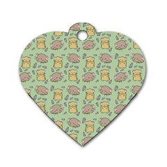 Cute Hamster Pattern Dog Tag Heart (one Side)