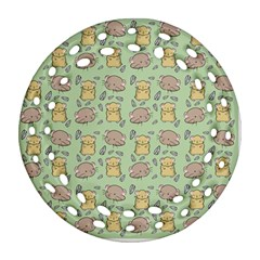 Cute Hamster Pattern Round Filigree Ornament (two Sides)