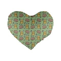 Cute Hamster Pattern Standard 16  Premium Flano Heart Shape Cushions by BangZart