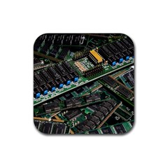 Computer Ram Tech Rubber Square Coaster (4 Pack)  by BangZart