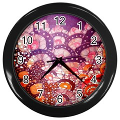 Colorful Art Traditional Batik Pattern Wall Clocks (black)