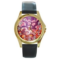 Colorful Art Traditional Batik Pattern Round Gold Metal Watch