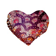 Colorful Art Traditional Batik Pattern Standard 16  Premium Heart Shape Cushions