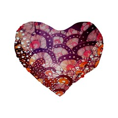 Colorful Art Traditional Batik Pattern Standard 16  Premium Flano Heart Shape Cushions by BangZart