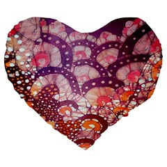 Colorful Art Traditional Batik Pattern Large 19  Premium Flano Heart Shape Cushions by BangZart