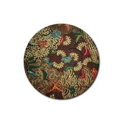 Colorful The Beautiful Of Art Indonesian Batik Pattern Rubber Coaster (round)