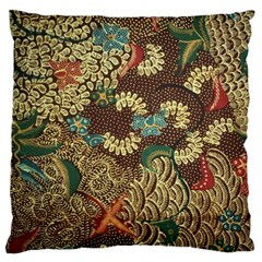 Colorful The Beautiful Of Art Indonesian Batik Pattern Large Cushion Case (one Side) by BangZart