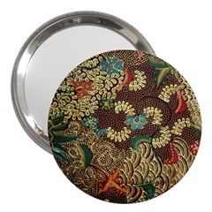 Colorful The Beautiful Of Art Indonesian Batik Pattern 3  Handbag Mirrors