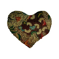 Colorful The Beautiful Of Art Indonesian Batik Pattern Standard 16  Premium Flano Heart Shape Cushions