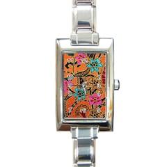 Colorful The Beautiful Of Art Indonesian Batik Pattern(1) Rectangle Italian Charm Watch by BangZart