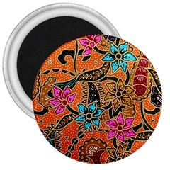 Colorful The Beautiful Of Art Indonesian Batik Pattern(1) 3  Magnets by BangZart