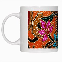 Colorful The Beautiful Of Art Indonesian Batik Pattern(1) White Mugs by BangZart