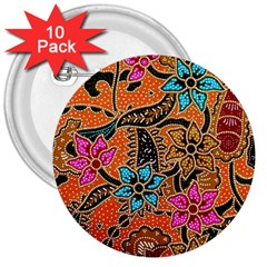 Colorful The Beautiful Of Art Indonesian Batik Pattern(1) 3  Buttons (10 Pack)