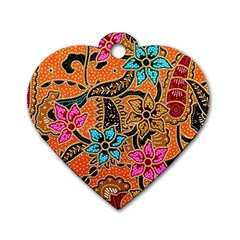 Colorful The Beautiful Of Art Indonesian Batik Pattern(1) Dog Tag Heart (one Side)
