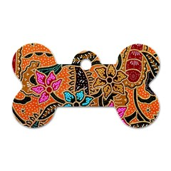 Colorful The Beautiful Of Art Indonesian Batik Pattern(1) Dog Tag Bone (two Sides)
