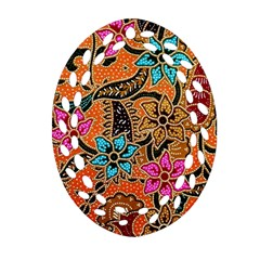 Colorful The Beautiful Of Art Indonesian Batik Pattern(1) Oval Filigree Ornament (two Sides) by BangZart
