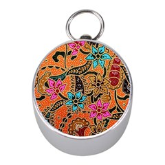 Colorful The Beautiful Of Art Indonesian Batik Pattern(1) Mini Silver Compasses