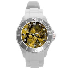 Colorful The Beautiful Of Traditional Art Indonesian Batik Pattern Round Plastic Sport Watch (l)