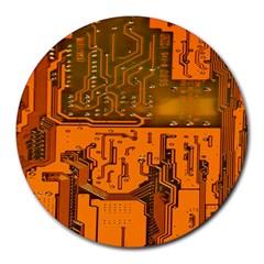 Circuit Board Pattern Round Mousepads by BangZart