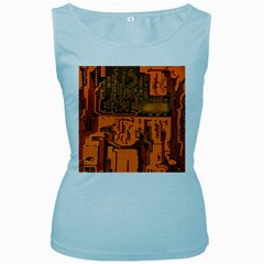 Circuit Board Pattern Women s Baby Blue Tank Top