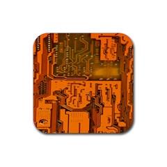 Circuit Board Pattern Rubber Coaster (square)