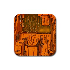 Circuit Board Pattern Rubber Square Coaster (4 Pack)  by BangZart