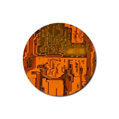 Circuit Board Pattern Rubber Round Coaster (4 Pack)